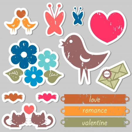 Set of romantic stickers for scrapbook Vector