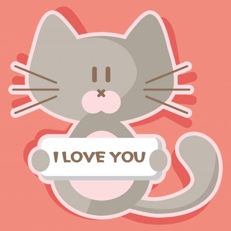 Cute kitten romantic valentine card Vector