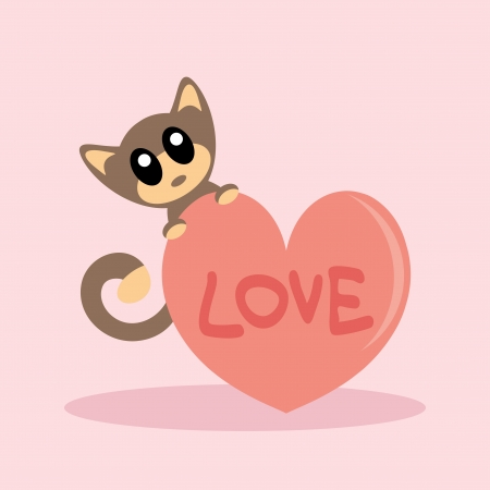 Cute kitty with heart Vector