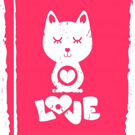 Cat in love valentine card Vector
