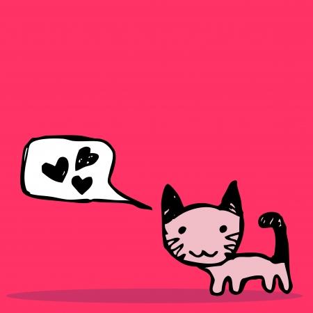 Cute little kitten romantic card