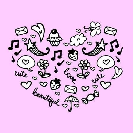 Cute heart made of romantic elements Vector
