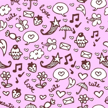 babyish: Romantic hand drawn seamless pattern