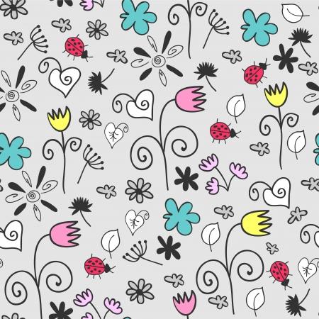 babyish: Hand drawn floral seamless pattern