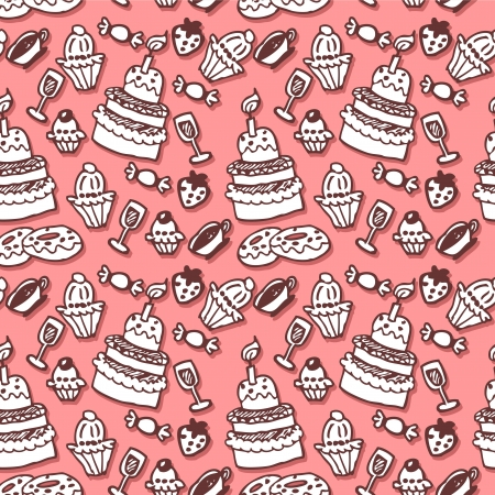 Sweet stuff hand drawn seamless pattern Vector