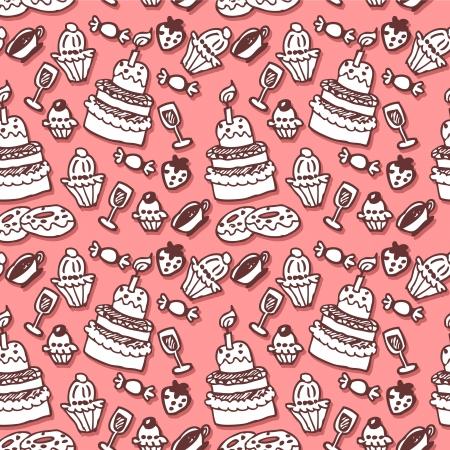 Sweet stuff hand drawn seamless pattern Stock Vector - 15673022