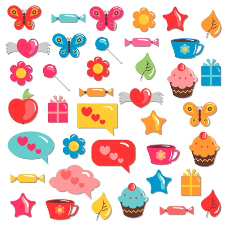 A set of cute colorful childish elements for design Vector