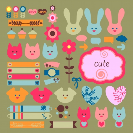 Cute childish scrapbook elements