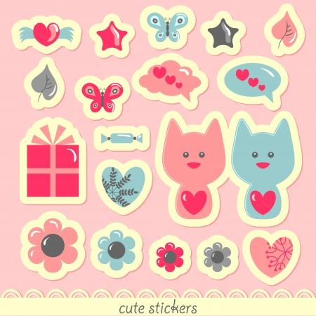 Sweet romantic stickers Vector