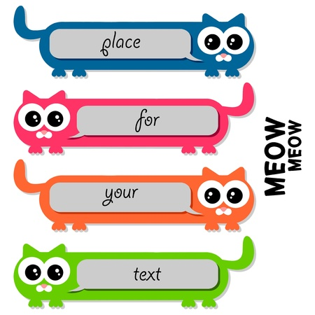 babyish animal: Funny colorful cats with place for your text