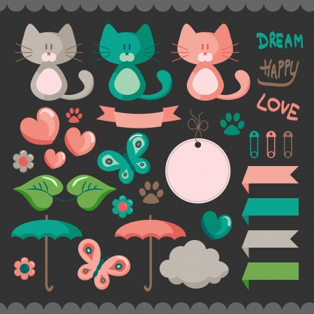 Sweet scrapbook elements set Vector