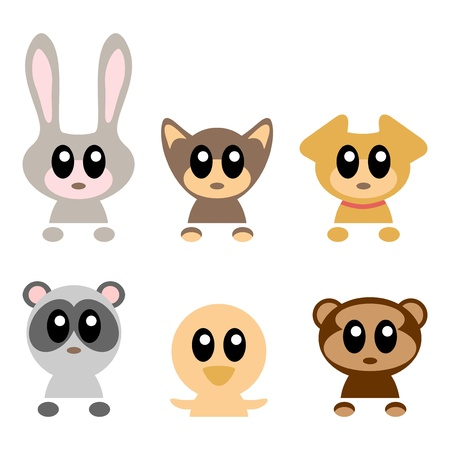 Cute baby animals set