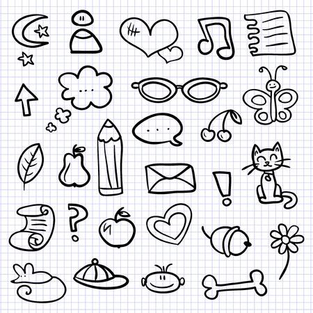 moon flower: Hand drawn various elements set Illustration