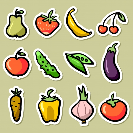 Fruit and vegetable stickers set Vector