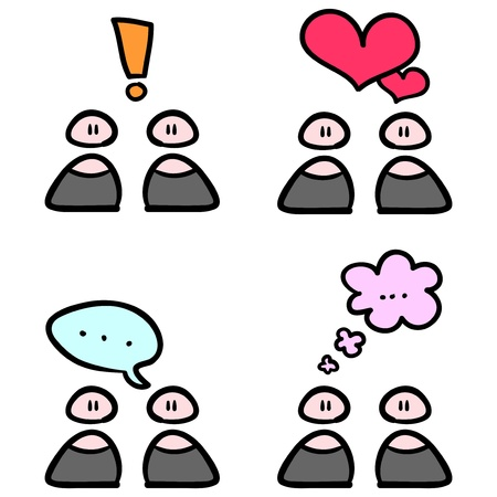 people communicating: People communicating simple drawing Illustration