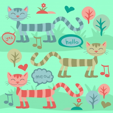 Cute cats on the grass Illustration