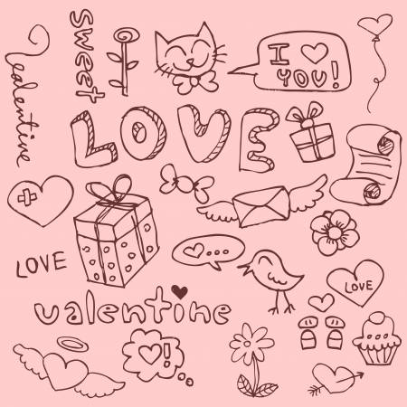 Set of cute hand drawn romantic things