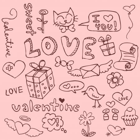 text box design: Set of cute hand drawn romantic things
