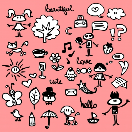 Cute things hand drawn set Vector