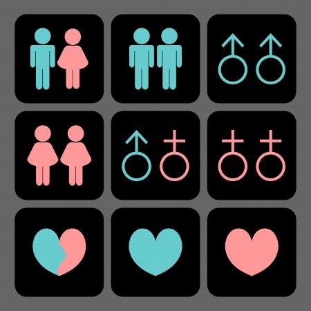Diverse soorten relaties icons set