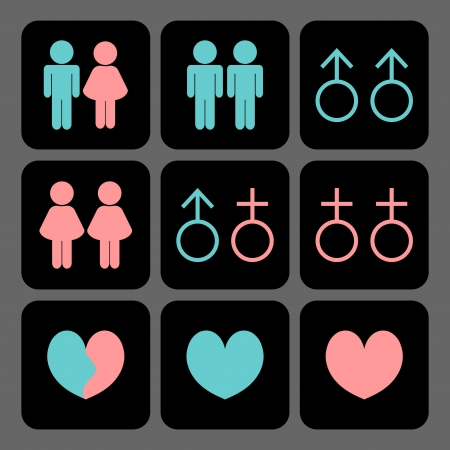 discrimination: Various kinds of relationships icons set