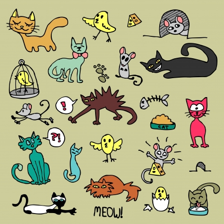 Colorful cats set Vector