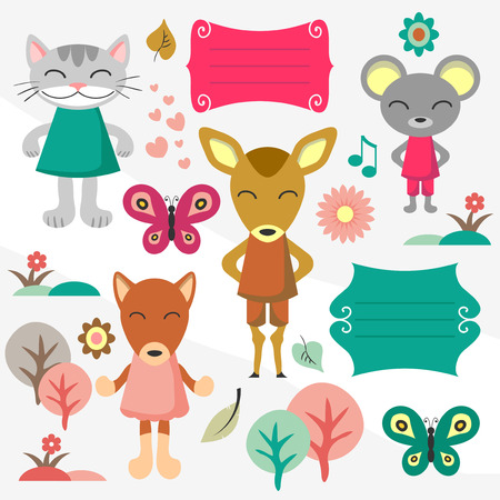 Cute baby animals scrapbook various elements set