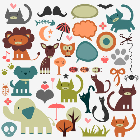Cute animals and various elements random set Vector