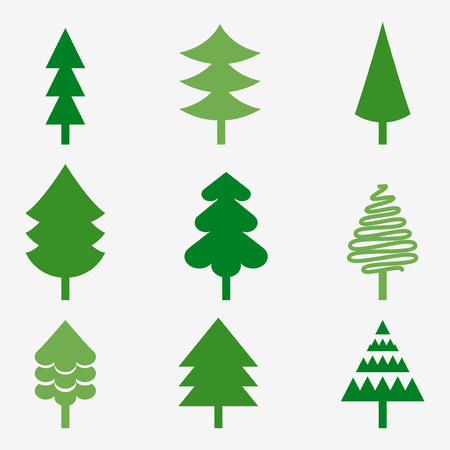 christmas trees: Set of various Christmas trees vector images