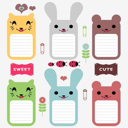 Cute various animals set of scrapbook elements Vector