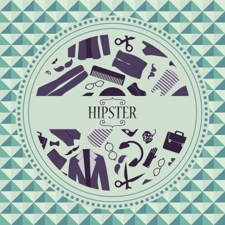 Hipster card with various clothing and accessories Vector