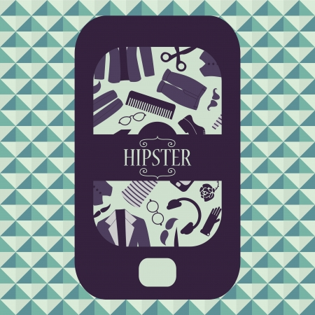 mobile accessories: Hipster card mobile phone with various clothing and accessories