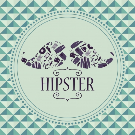 Hipster card mustache with various clothing and accessories Vector