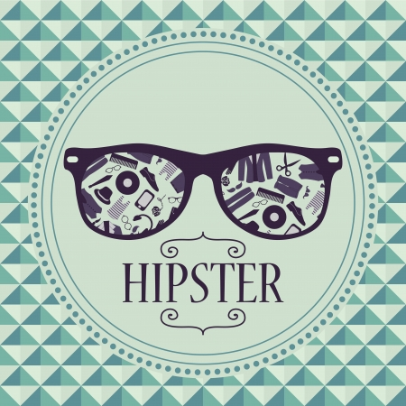 Hipster card glasses with various clothing and accessories Vector