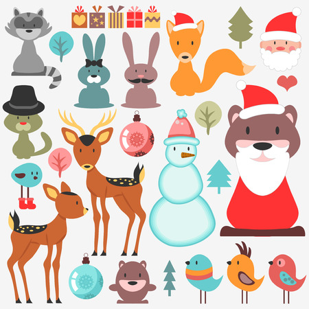 Cute various elements set Christmas theme animals Vector
