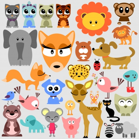 Big set of various cute animals wild and pets Vector