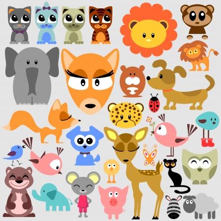 babyish animal: Big set of various cute animals wild and pets