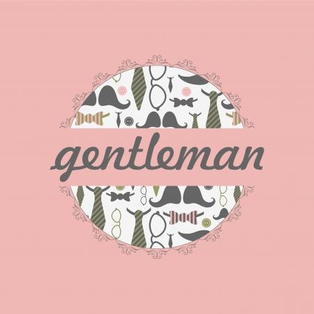 dandy: Beautiful card dandy style male fashion pattern Illustration