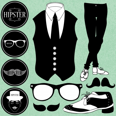 Set of various hipster style elements clothing and accesories Vector