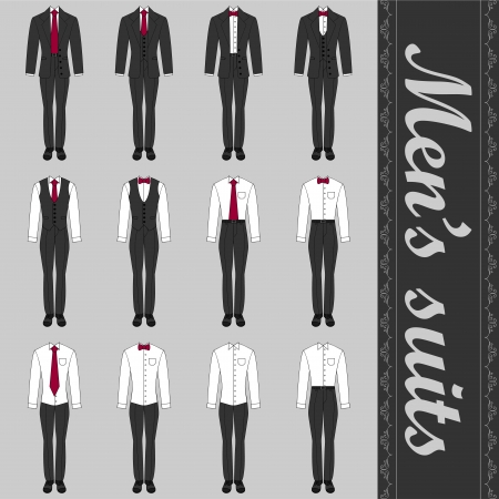 Set of various men's suits formal style Vectores