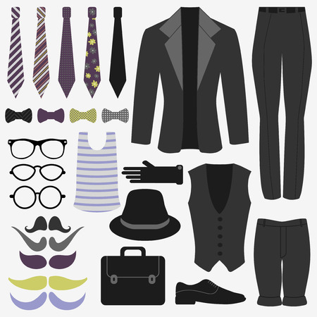 Set of mens clothing and accessories hipster style Illustration