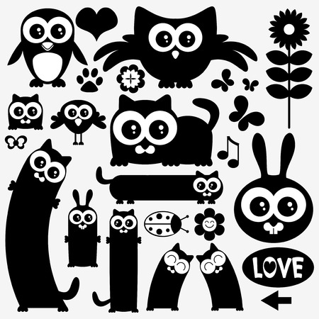 Black silhouettes of cute animals. Stickers design Vector