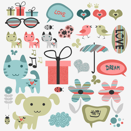 Set of cute scrapbook elements with animals Vector