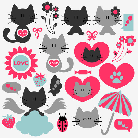 Two cute cats in love set of elements Vector