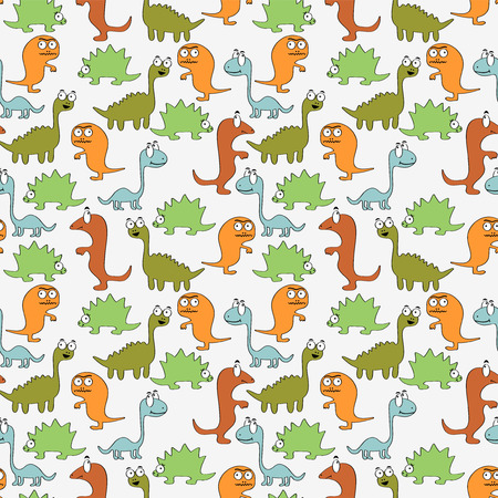 Seamless pattern with cute dinosaurs Vector