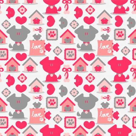 Seamless pattern with cute dogs Vector
