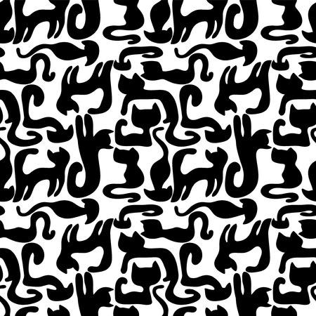 Seamless pattern with black cats silhouettes Vector
