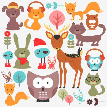 Set of various cute animals Vector