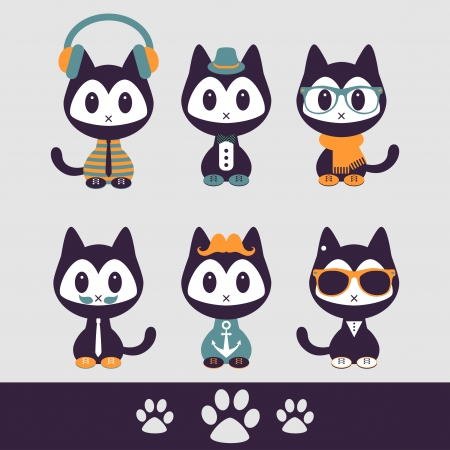 Set of various stylish kittens in clothes Illustration