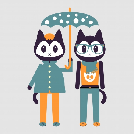 Two cute stylish kittens under umbrella Vector